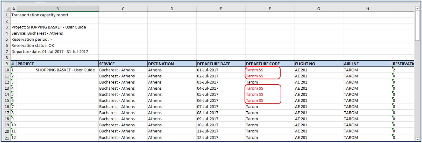 AIDA departure code