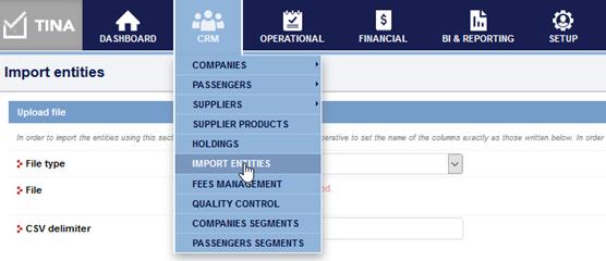 TINA import- entities