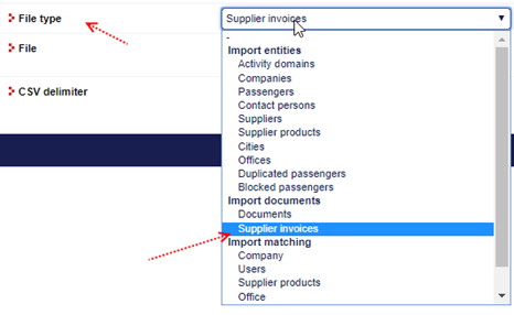 TINA import entities supplier invoices