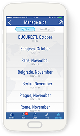 TravList Manage Trips